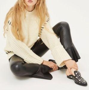 Topshop Mermaid Flare Faux Leather Leggings Pants